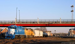 GREAT Looking GMTX Geep (Jeff Carlson_82) Tags: railroad bridge up station train ks great railway unionpacific local topeka railfan overland emd gp382 gatx 2243 leaser gmtx topekablvd sjjct