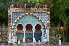 Moorish Style Water Spring, Sintra (fesign) Tags: tourism portugal water fountain horizontal architecture tile outdoors photography spring arch mosaic sintra nopeople unescoworldheritagesite moorish column ornate colddrink drinkingwater traveldestinations buildingexterior colourimage traditionallyportuguese
