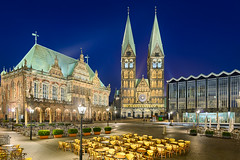 Bremen At Night (Michael Abid) Tags: old city blue sky panorama tower history church architecture night germany ancient cathedral cityhall dom landmark panoramic historic townhall marketplace bremen rathaus altstadt oldtown marktplatz