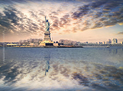 New York, USA 001 - Statue of Liberty Reflections (IP Maesstro) Tags: ocean sea sky usa newyork water clouds america reflections unitedstates unitedstatesofamerica atlantic statueofliberty hdr waterscape ipmaesstro
