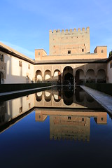 Enjoy the sunlight through the arches (Ming_Young) Tags: espaa reflection pool architecture andaluca spain arch muslim alhambra granada andalusia portico laalhambra  courtofthemyrtles