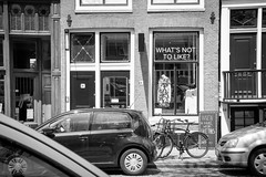 What's Not to Like, Amsterdam, Netherlands (Kris McNeil) Tags: city blackandwhite netherlands amsterdam shop retail clothing whats like streetscape