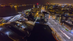 Liverpool Waterfront at 02:45 (Dave Wood Liverpool Images) Tags: uk england liverpool waterfront aerial
