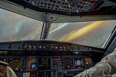 Initial climb (Philippe Goachet) Tags: airliner airline aircraft airbus airfrance avion takeoff dcollage virage turn pilot flightdeck inflight sunrise sony rx100 a320
