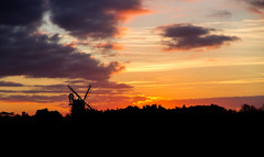 Sails at sunset (oliyh) Tags: christmas sunset red sky tower mill windmill beauty silhouette skyline landscape fire countryside industrial norfolk sails dramatic fiery wintersun cley challengegamewinner