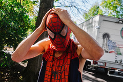 Spiderman Spiderman... (kennyxli28) Tags: seattle street nyc newyorkcity people 35mm spiderman streetphotography spaceneedle fujifilm busker transition 35mmphotography vscofilm fujixt1