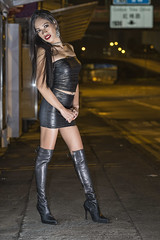 black and shiny (sexy kutinghk) Tags: asian erotic sexy filipina girl woman slim skinny bodycon dress mini skirt tight short minidress boots thigh over knee heels