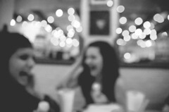 Happy Bokeh (sonnishine) Tags: friends light portrait blackandwhite monochrome beautiful laughing portraits happy bokeh candid fade laughter chuys bokehs sonnishine