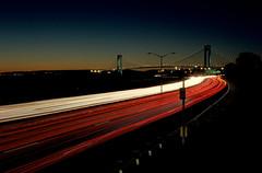 Shore Parkway (dtanist) Tags: new york city nyc newyorkcity bridge newyork cars film beach brooklyn night analog zeiss island evening bay belt highway bath long exposure kodak contax shore parkway carl esplanade promenade g1 100 45mm narrows staten planar gravesend verrazano ektar carlzeiss