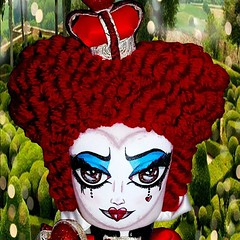 For Sale!  Queen of Heats - Curious Collection  FB: http://www.facebook.com/ChiaraVeniceCouture or http://www.facebook.com.etsy.com/shop/ChiaraVeniceArtDolls  #queenofhearts #quirky #redqueen #red #AliceInWonderland #Wonderland #helenabonhamcarter #TimBur (Chiara Venice Art Dolls) Tags: art square doll alice ooak disney staff squareformat crown artdoll wonderland timburton aliceinwonderland bigred clothdoll helenabonhamcarter redqueen headswillroll offwithherhead fabricdoll quuenofhearts textiledoll iphoneography instagramapp uploaded:by=instagram