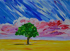 Inspired by Mick (BKHagar *Kim*) Tags: shadow inspiration tree clouds painting paint acrylic mick redclouds yamstar1 bkhagar