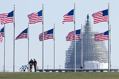 Where's the Capitol? (Tim Brown's Pictures) Tags: city streets building bicycle washingtondc nw scaffolding northwest map streetphotography flags uscapitol dome nationalmall visitors washingtonmonument tourits timbrown