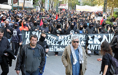 Activists of the black bloc leading a protest march in Athens, Greece (paul.katzenberger) Tags: protest athens greece demonstrators blackbloc grigoropoulos eurocrisis