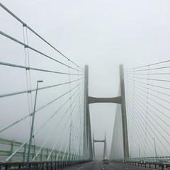Over the bridge (Claire_Sambrook) Tags: road bridge england fog wales driving sevenbridge
