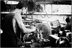 Boy's Maschine Shop XI (cardijo) Tags: street people blackandwhite bw work sony philippines canonfd a6000 streetpassionaward ilce6000