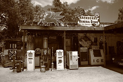 Route 66 - Hackberry General Store (Frank Footer Fotos) Tags: road trip travel vacation arizona sky usa brown white signs black southwest west art classic ice home sunshine station shop wall sepia clouds rural america vintage photography freedom town office store highway pumps desert general framed pegasus small country rustic fine mother machine murals sunny diner az mobil roadtrip 66 historic retro gas adventure business route nostalgia posters buy prints americana service kicks motor roadside decor tones rt filling attractions hackberry