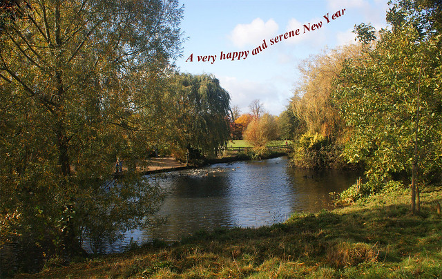Horsham Park - view of the pond 1 - New Year greetings for MofH