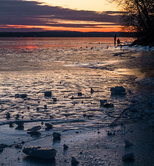 New Years Day Sunset 2015 (iAM Peterson) Tags: winter sunset ice nature wisconsin landscape outdoors frozen madison iceskaters stoughton lakekegonsa fujixe1 newyearsday2015
