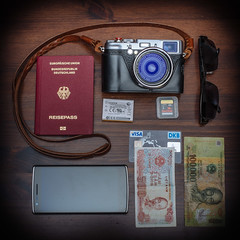 My travel kit (gambajo) Tags: camera travel money beautiful beauty sunglasses fuji gear technik rangefinder equipment smartphone fujifilm kit passport reise cameraporn elektronik kameras oneplusone oneplus travelkit garitz fujix100s x100s