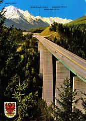 Austria - Europa Bridge [02] - 1967 - front (Ye-Di) Tags: postcard ansichtskarte austria österreich tyrol tirol europabridge europabrücke a13 highway motorway autobahn mercedesbenz w120 ponton ford taunus weltkugeltaunus 60s