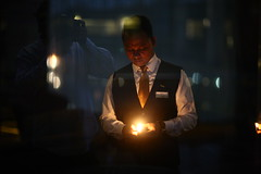 Come on Johnny LIGHT my FIRE (N A Y E E M) Tags: camera light portrait selfportrait reflection me fire hotel friend raw candle terrace dusk availablelight johnny unposed yesterday untouched bartender bangladesh unedited selfie chittagong i sooc nayeemkalam radissonblu baikalbar