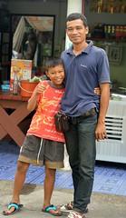 boy with favorite uncle (the foreign photographer - ) Tags: boy man sign portraits thailand nikon peace bangkok uncle young bang bua khlong bangkhen d3200 jan302016nikon