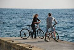 Young and pert (Babe wave) Tags: sea bike pier seaside waves jetty young younglove romance thighs blonde saddle tightjeans boyonbike girlonbike braline pertbreasts slimwaist sexuallyaware