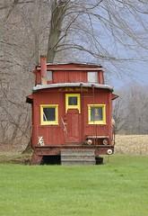 Hartstown, Pennsylvania (1 of 4) (Bob McGilvray Jr.) Tags: wood railroad red train wooden spring pennsylvania farm tracks caboose pa cupola treeline hartstown theloosecaboose