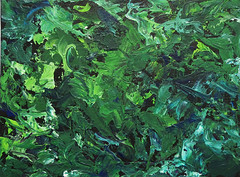 """""""Dark Forest"""" - 8""""x10"""" (KristinVictoria) Tags: original trees light abstract color colour detail tree green art texture colors leaves forest dark painting studio moss paint artist acrylic colours emotion artistic earth teal details curves knife chartreuse canvas medium swirl swirls create etsy curve pallet stretched creating cobalt teals darkened expressing"""