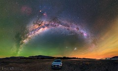 Airglow of Warcraft Edition (AlvinWuFoto) Tags: green car yellow scorpio galaxy aurora mazada airglow