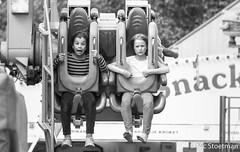 This isn't fun. (Nic Stoetman) Tags: girls blackandwhite bw kids fun blackwhite zwartwit outdoor kinderen fair scream kermis zw leusden schreeuwen