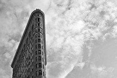 flatiron (poludziber1) Tags: street city nyc sky usa ny newyork building architecture clouds america blackwhite cityscape