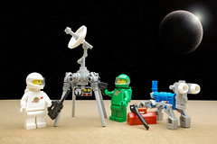 Radar. Tinker. Tinkle. (billyburg) Tags: lego classic space little green men mars benny earth mutt dog repair tool toolbox piss tinker tinkle pee urinate