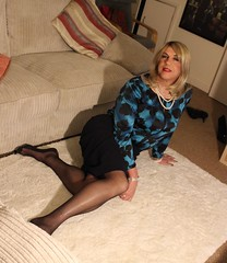 silk blouse with a twist (bethany_labelle) Tags: office skirt tgirl suit transvestie