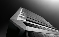 Porcellis (RhoeLLL) Tags: monochrome blackandwhite blacksky architecture archilovers building lookingup contrast abstract lines composition amsterdam