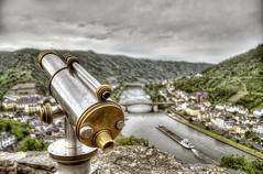 (Paul B0udreau) Tags: telescope raining reichsburgcochem castle river moselle boat germany bridge raindrops towerviewer