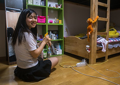 North korean teen defector in her bedroom, National capital area, Seoul, South korea (Eric Lafforgue) Tags: life woman house home horizontal female asian living bed asia natural personal interior room refugee cream shampoo indoors teen seoul teenager inside products fullframe cosmetics southkorea youngadult oneperson lotion cosmetology bodycare defector 1819years lookingatcamera northkorean 1617years waistup 1people nationalcapitalarea colourpicture koreanethnicity sk162389
