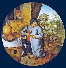 A man sitting at a rich table and cutting meat & wood with the same knife (petrus.agricola) Tags: pieter bruegel younger proverbs flemish netherlandish painting tondo