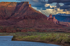 Fisher Towers & Colorado River (RichGreenePhotography.com) Tags: light sky mountains beauty clouds river utah spring sandstone afternoon bank coloradoriver fishertowers lasalmountains coloradoplateau castlevalley highway128 richgreenephotography