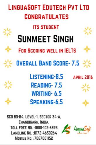 Sunmeet Singh - IELTS band score 7.5