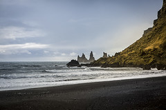 Reynisdrangar from the beach at Vk  Mrdal (breakbeat) Tags: icelands0259 vkmrdal vk beach black volcanic sand travel travelphotography lonelyplanet traveltheworld winter bucketlist