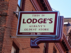 Lodge's, Albany, NY (Robby Virus) Tags: albany newyork state lodges department store blodge co company business oldest underwear hosiery sleepwear neon arrow
