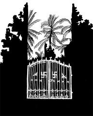 Temple Gates_Lovina, Bali_August 2016 (stevefaradaysketches) Tags: lovina bali indonesia urbansketch inksketch swastika gates hindu temple