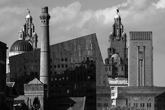 Shapes and Shadows (cathbooton) Tags: old new modern architecture building city waterfront canon6d canoneos canonusers albertdock liverpool skyline shadows pumphouse liverbuilding liverbird bnw blackandwhite