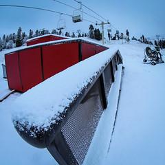 First Snow of the 2014-2015 winter season at Bear Mountain inBig Bear Lake, California.