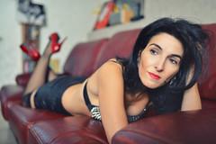 Sur le canap (patdebaz) Tags: woman sexy 35mm studio glamour erotic 14 sigma charm couch brunette brune charme canap d800 erotique