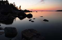 Sweden 2014 (SS) Tags: longexposure trees light sunset summer sky seascape water backlight composition reflections island photography rocks flickr mood angle pentax sweden stones horizon silhouettes july atmosphere coastline k5 2014