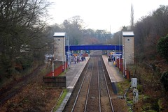 Marple train station (zawtowers) Tags: blue winter people cold station train waiting december lift cheshire footbridge walk platform peaceful rail railway calm stockport commute catch chilly serene northern platforms marple 2014 accessible