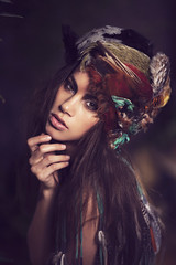Hai Ly (Laurianne Gouley) Tags: portrait woman color beautiful beauty make up fashion pretty artist artistic feather beaut plumes