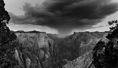 B+W, Canyon Downpour, Zion NP (tr0mbley) Tags: park camping red bw white mountain black west nature river observation point landscape utah nikon scenery rocks hiking canyon virgin climbing trail national backpacking zion zionnationalpark observationpoint d3100